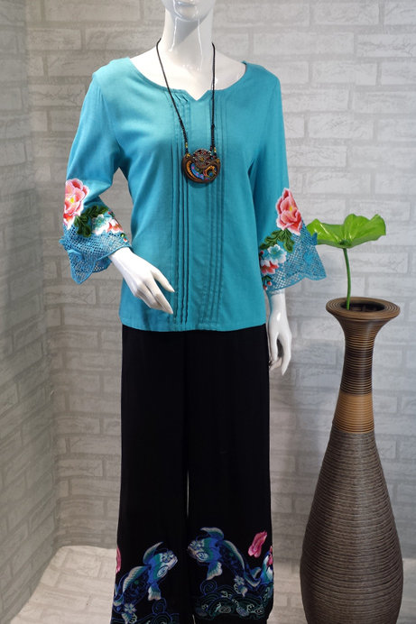 Pleated Top with Embroidered Flower Sleeves