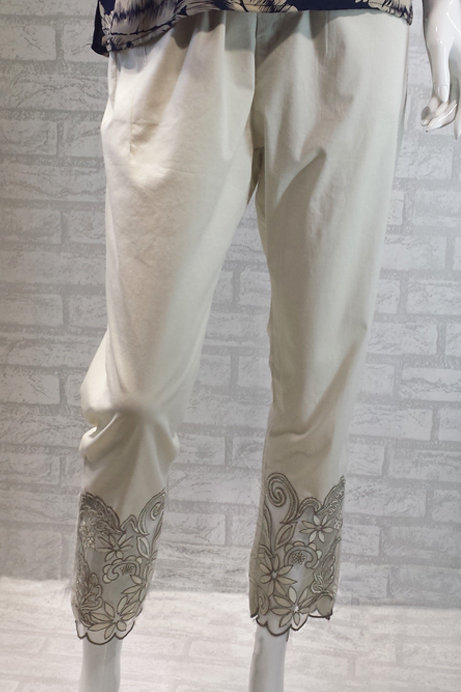 Beige Pants with Lace Cut Out