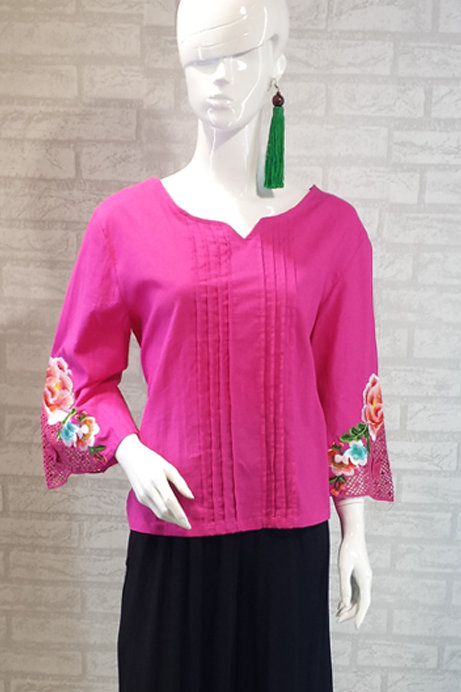 Pleated Top with Flower Sleeves