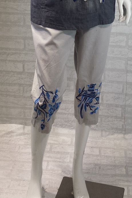 Blue Bird Embroidery Pants