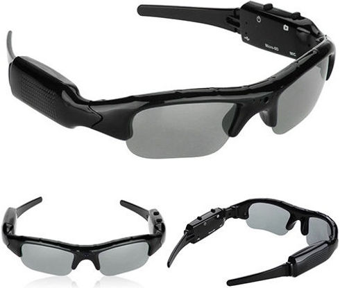 3 views of a pair of sunglasses that have a digital video recorder inside.