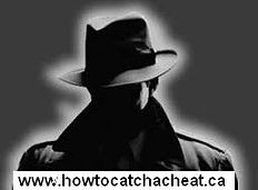 image of a silohette of a man wearing a trench coat and a fedor hat with the web address under logo saying www.howtocatchacheat.ca.