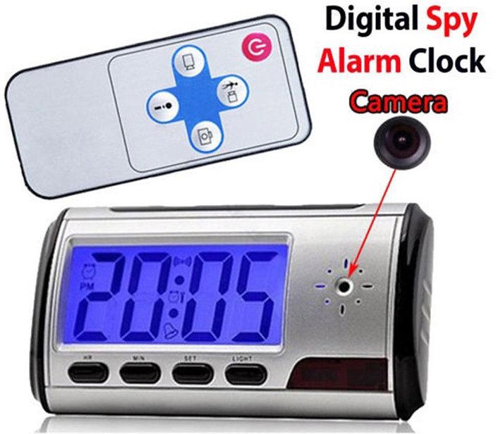 e of a digital alarm clock with a hidden camera.