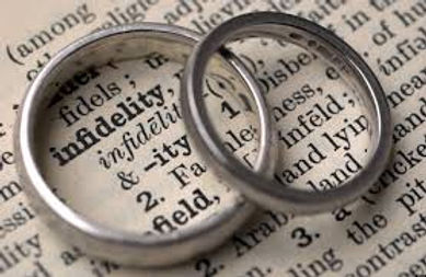 Image of two wedding bands on top of a page with the definition of infidelity in text.