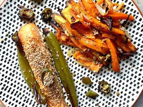 Saumon grillé, frites de patate douce