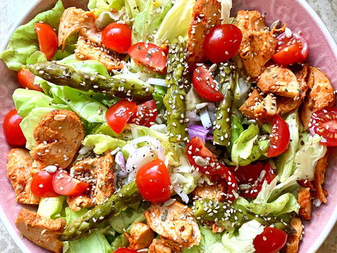 Salade poulet paprika, asperges