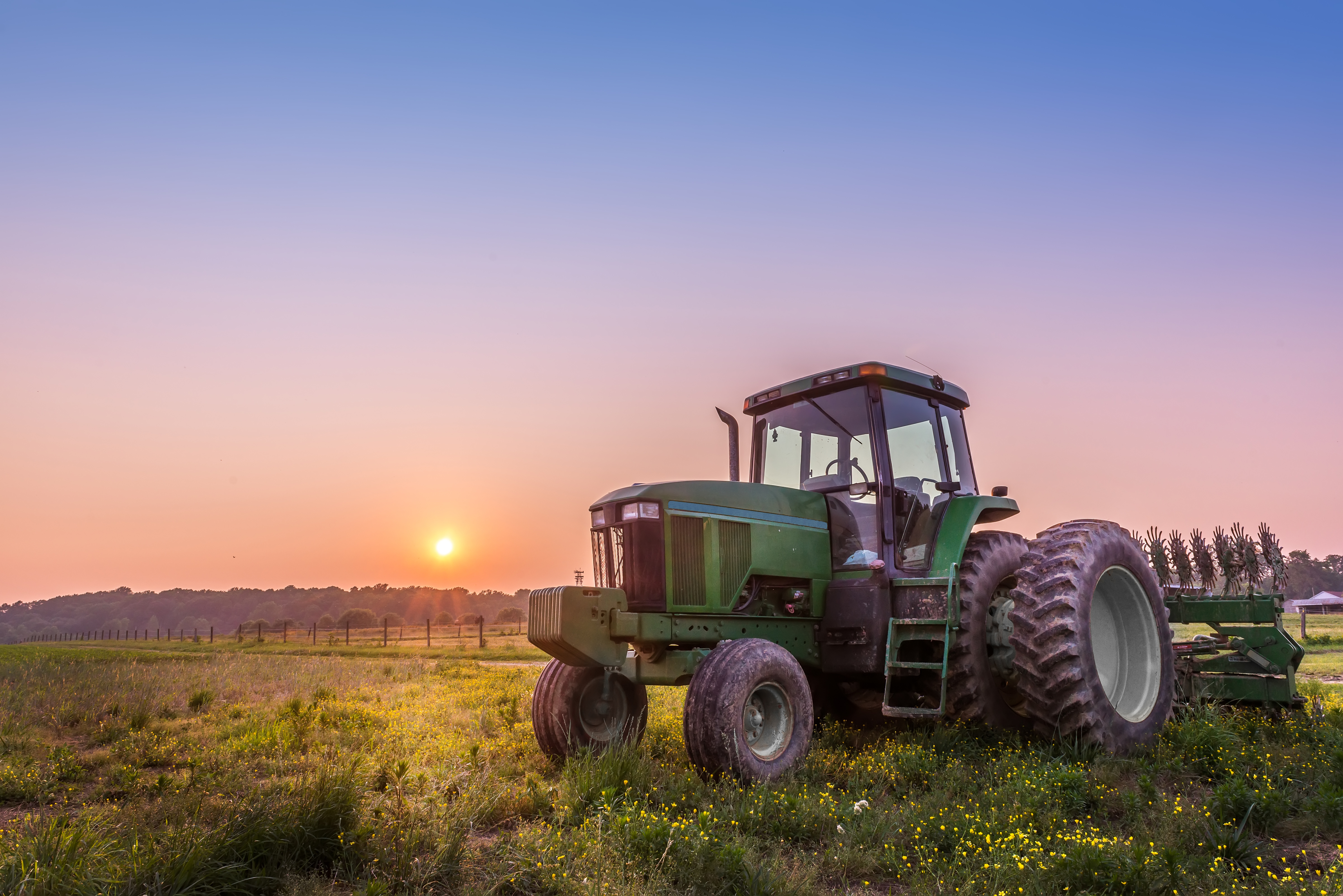 tractor at dawn
