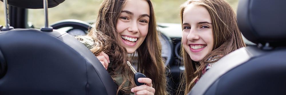 teen girls in car