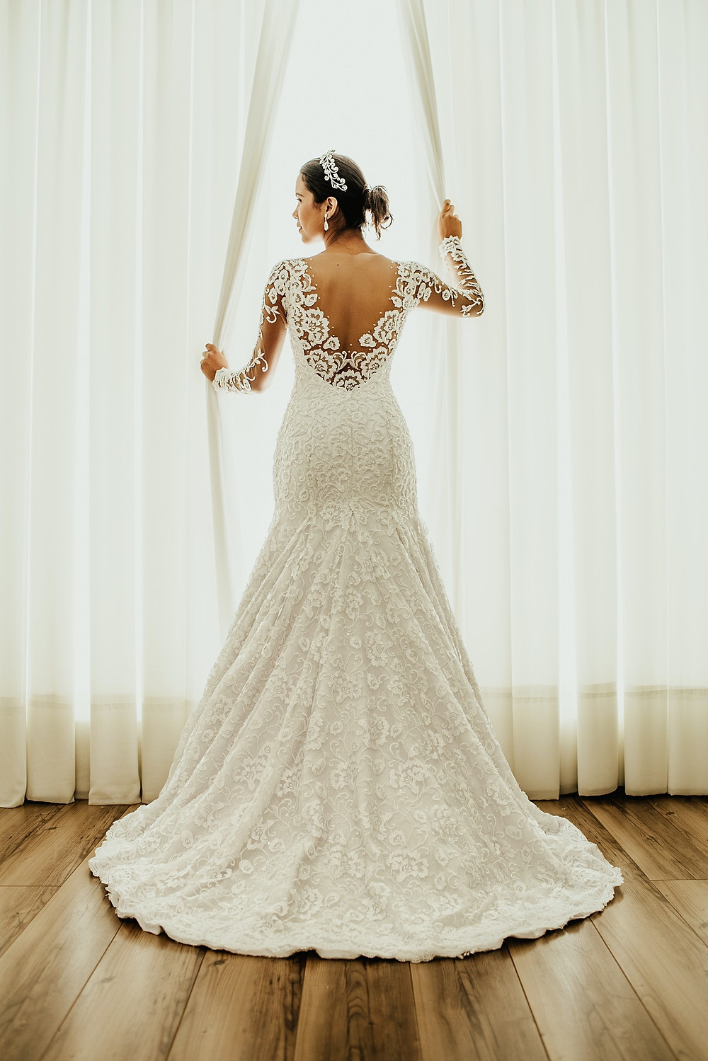 a bride in a white gown