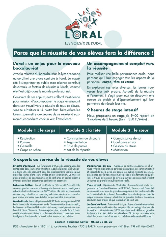 Réforme du Bac - Les Voies.x de l'Oral