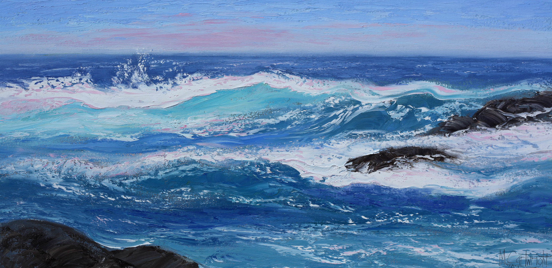 Crashing Waves 91cm x 46cm