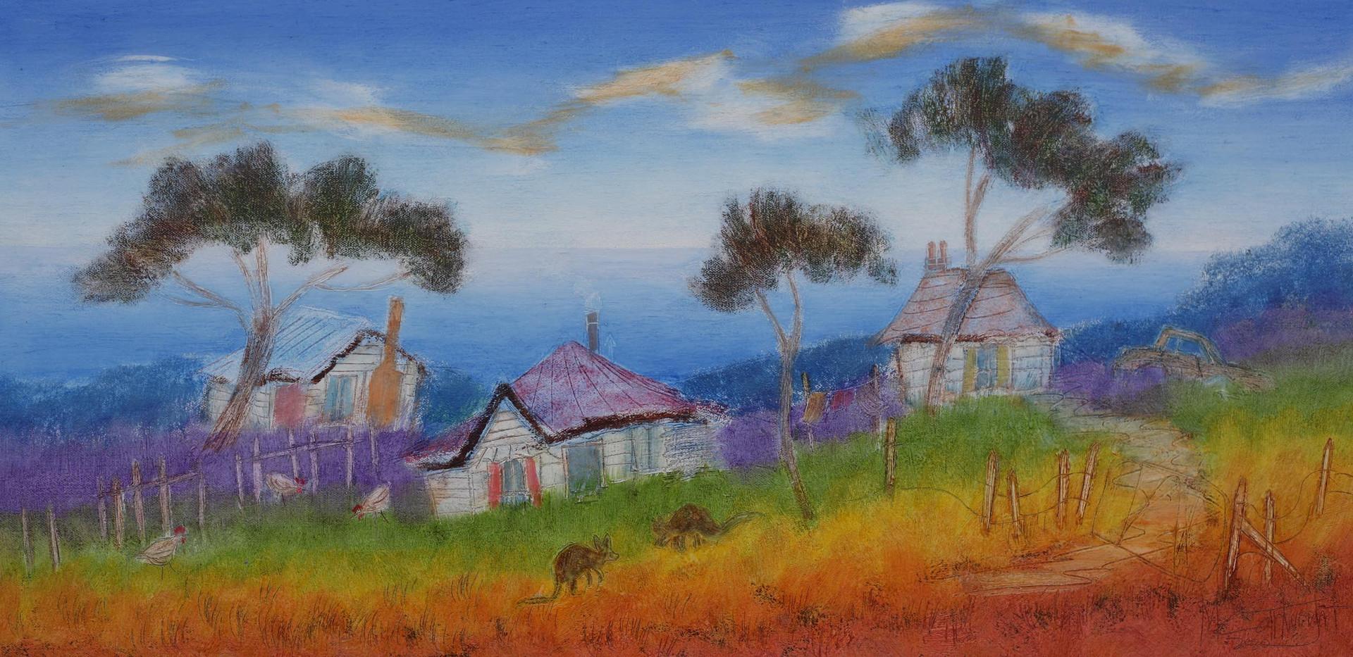 Three Quirky Cottages 91cm x 46cm