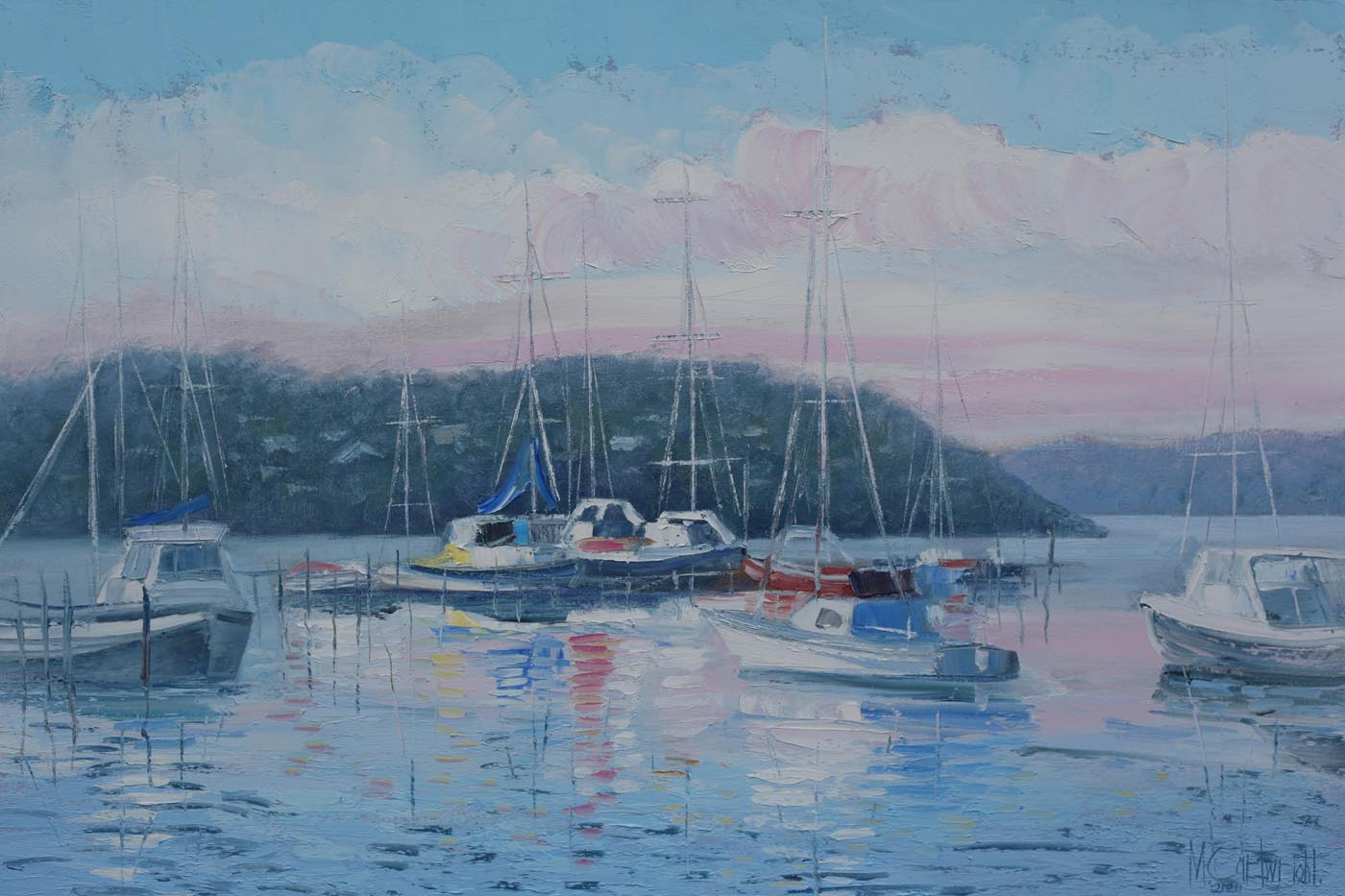 Boats at Oyster Harbour 76cm x 51cm