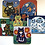 Thumbnail: Set of 6 Folk Art Cat Coasters