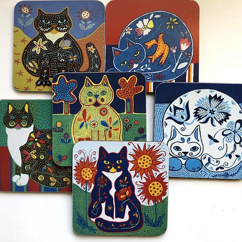 Set of 6 Folk Art Cat Coasters