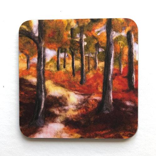 forest wool art coaster
