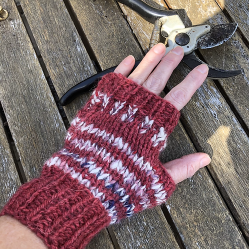 red fingerless mittens