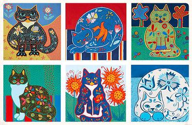 folk art cat designs