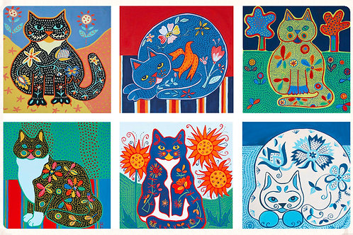 set of 6 cat design cards
