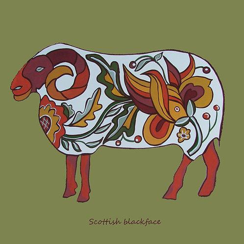 Card - Scottish blackface sheep