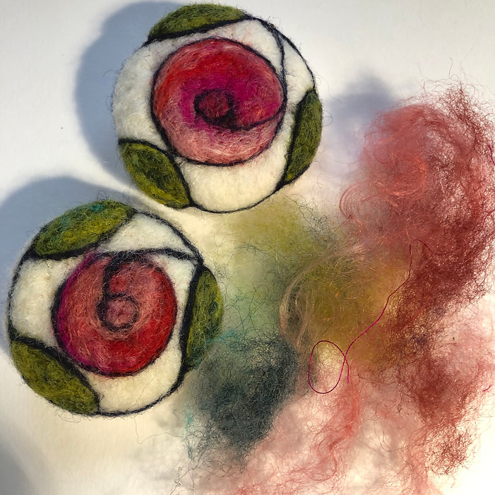 Felted rose design brooches