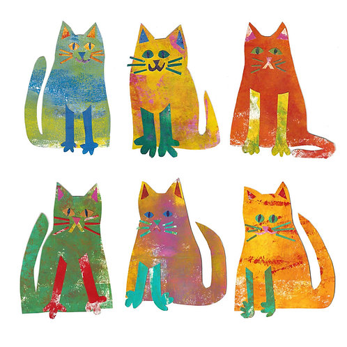 cat group greetings card