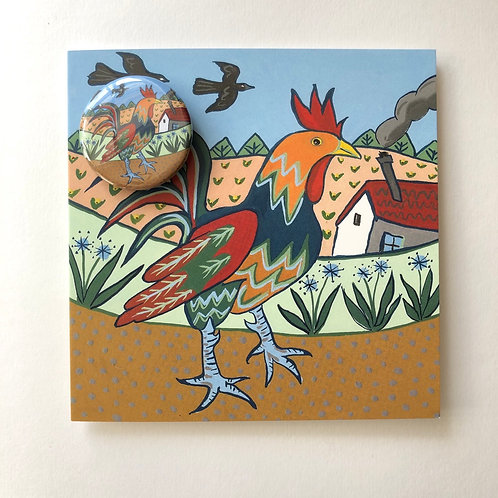 rooster card with badge