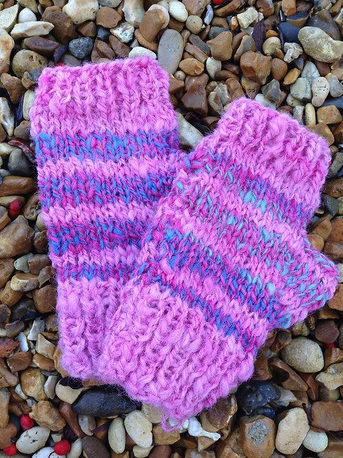 pink stripe handspin wool fingerless mittens