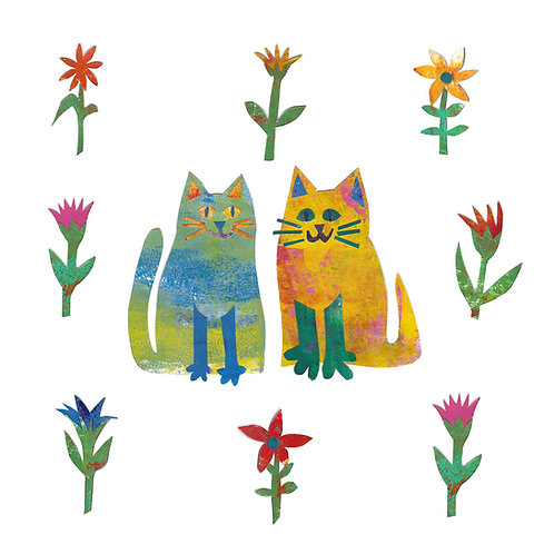 two cats garden card