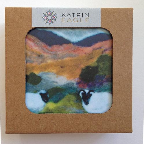 Wool Art Coasters -  set of 4