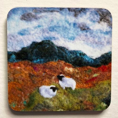 Wool art coaster 'Downland View'