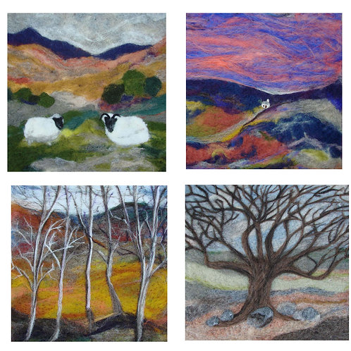 wool needle felt wool art print cards