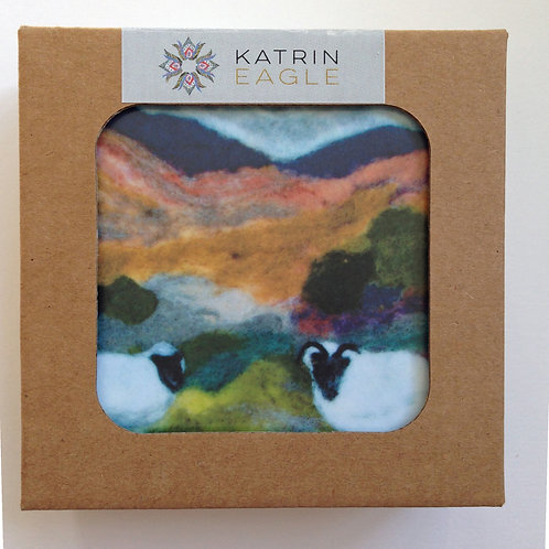 Wool Art Coasters -  set of 6