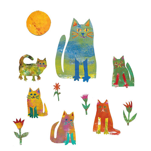 cat and kittens card