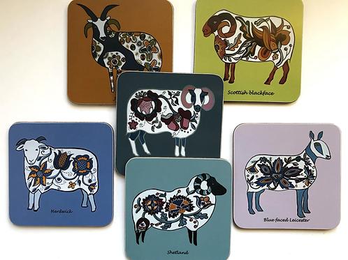Folk Art Sheep Coaster Set