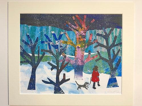 dog walk in the woods print