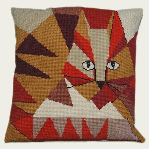 cat needlepoint cushion
