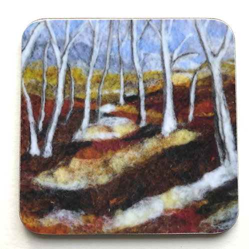 Wool art coaster 'Birch Forest'