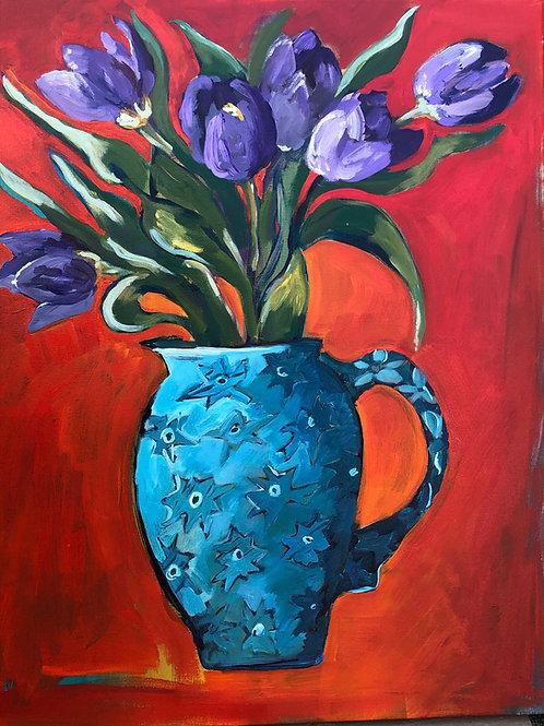 tulips in vase greetings card