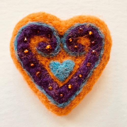 Orange heart brooch