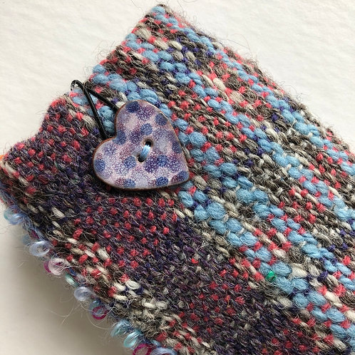 woven spectacle case with button