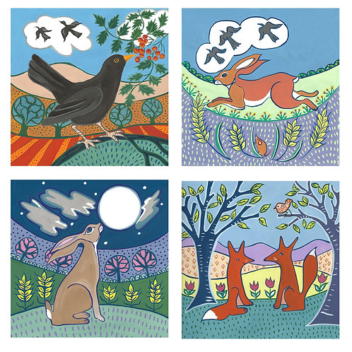 Set of 4 Colourful Creatures  cards