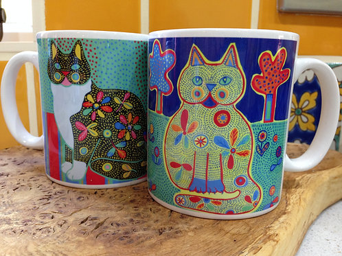 FolkArt Cat Mug -Marmaduke & Merlin