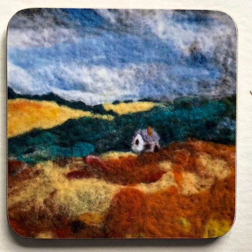 Wool art coaster 'Little Farm'