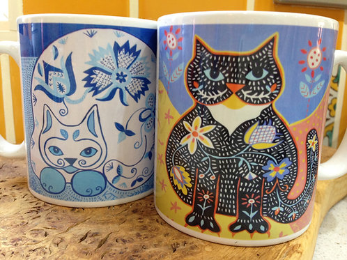 folk art cat mug