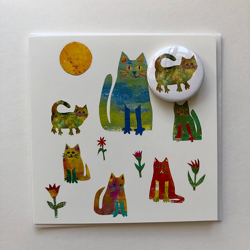 cat card with badge