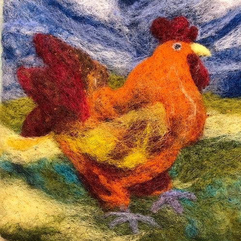 Little Rooster -framed wool art
