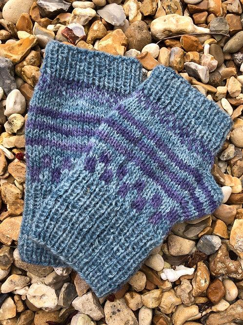 Pale blue mittens