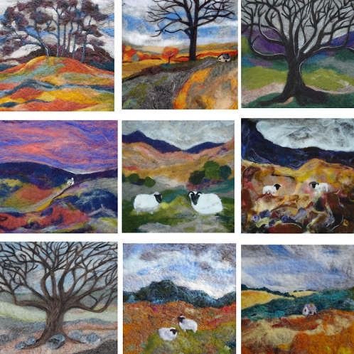 Set of 9 wool art cards