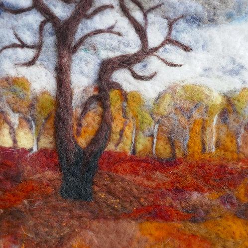 wool art coaster autumn walk